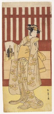 Katsukawa Shunsho (Japanese, 1726-1793). The Actor Ogawa Tsunezo II in a Female Role, 1782. Woodblock color print, 12 15/16 x 5 13/16 in. (32.7 x 15.0 cm). Brooklyn Museum, Museum Collection Fund, 16.550
