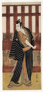 Katsukawa Shunsho (Japanese, 1726-1793). The Actor Ichikawa Monnosuke II Striking an Attitude, ca. 1780. Woodblock color print, 12 15/16 x 5 3/4 in. (32.8 x 14.6 cm). Brooklyn Museum, Museum Collection Fund, 16.554