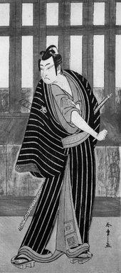 Katsukawa Shunsho (Japanese, 1726-1793). The Actor Ichikawa Monnosuke II Striking an Attitude, ca. 1780. Woodblock color print, 12 15/16 x 5 3/4 in. (32.8 x 14.6 cm). Brooklyn Museum, Museum Collection Fund, 16.554