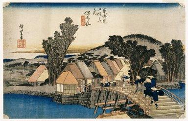 Utagawa Hiroshige (Ando) (Japanese, 1797-1858). Hodogaya, Shinkame Bashi, Station 5, 1834. Woodblock color print, 8 15/16 x 13 15/16 in. (22.7 x 35.4 cm). Brooklyn Museum, Museum Collection Fund, 16.556