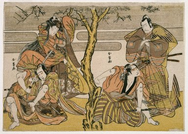 Katsukawa Shunsho (Japanese, 1726-1793). Four Actors in a Scene from Some Play, ca. 1776. Woodblock color print, 9 x 12 5/8 in. (22.9 x 32.1 cm). Brooklyn Museum, Museum Collection Fund, 16.559