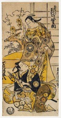 Kiyomasu Torii I (Japanese, active 1704-1718). Two Actors in a Play, ca. 1730. Urushige (lacquer print) black and white hand colored, 9 5/16 x 6 in. (23.6 x 15.3 cm). Brooklyn Museum, Museum Collection Fund, 16.561