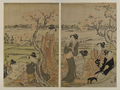Torii Kiyonaga (Japanese, 1752-1815). A View of Blossoms on the Bank of the Sumida, ca. 1792. Woodblock color print, 14 3/4 x 9 5/8 in. (37.5 x 24.5 cm) each. Brooklyn Museum, Museum Collection Fund, 16.562