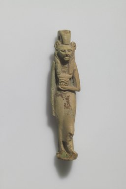 Figure of Lion-headed Female Deity. Faience, glazed, 2 13/16 x 5/8 in. (7.2 x 1.6 cm). Brooklyn Museum, Gift of Evangeline Wilbour Blashfield, Theodora Wilbour, and Victor Wilbour honoring the wishes of their mother, Charlotte Beebe Wilbour, as a memorial to their father Charles Edwin Wilbour, 16.580.47. Creative Commons-BY