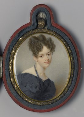 Thomas Seir Cummings (American, born England, 1804-1894). Portrait of Elizabeth Stirling Foote, 1832. Watercolor on ivory portrait in brass locket with glass lenses on both sides, Image (sight): 2 11/16 x 2 3/16 in. (6.8 x 5.6 cm). Brooklyn Museum, Museum Collection Fund, 16.687.1