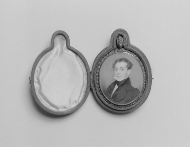 Thomas Seir Cummings (American, born England, 1804-1894). Portrait of Erasmus Darwin Foote, ca. 1832-1833. Watercolor on ivory portrait in brass locket with glass lenses on both sides, Image (sight): 2 9/16 x 2 1/16 in. (6.5 x 5.2 cm). Brooklyn Museum, Museum Collection Fund, 16.687.2