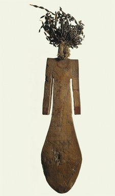 Paddle Doll, ca. 2008-1630 B.C.E. Wood, mud, flax, faience, pigment, 8 x 2 1/16 in. (20.3 x 5.2 cm). Brooklyn Museum, Gift of Evangeline Wilbour Blashfield, Theodora Wilbour, and Victor Wilbour honoring the wishes of their mother, Charlotte Beebe Wilbour, as a memorial to their father, Charles Edwin Wilbour, 16.84. Creative Commons-BY