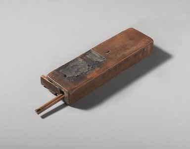 Scribe's Palette and Reed Pens, 525-343 B.C.E. Wood, pigment, palette: 1 3/8 x 11/16 x 4 15/16 in. (3.5 x 1.8 x 12.6 cm). Brooklyn Museum, Gift of Evangeline Wilbour Blashfield, Theodora Wilbour, and Victor Wilbour honoring the wishes of their mother, Charlotte Beebe Wilbour, as a memorial to their father, Charles Edwin Wilbour, 16.99a-d. Creative Commons-BY