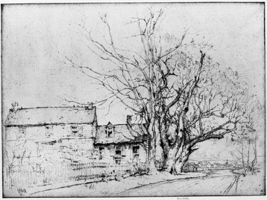 Ernest David Roth (American, 1879-1964). A New Jersey Farm House, 1916. Etching and drypoint on grey colored laid paper, Plate: 10 7/8 x 14 13/16 in. (27.7 x 37.7 cm). Brooklyn Museum, Museum Collection Fund, 17.108