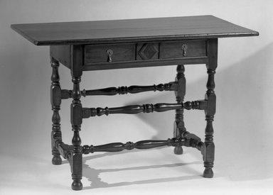 American. Table, Rectangular Top Resting on Four Turned Legs, late 17th century. Pine and maple, 28 3/4 x 43 1/4 x 22 1/2 in. (73 x 109.9 x 57.2 cm). Brooklyn Museum, Henry L. Batterman Fund, 17.116. Creative Commons-BY