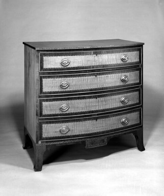 Chest of Drawers, ca. 1790-1800. Mahogany, ebony, satinwood, brass, 39 3/8 x 41 1/4 x 21 5/8 in. (100 x 104.8 x 54.9 cm). Brooklyn Museum, Henry L. Batterman Fund, 17.118. Creative Commons-BY