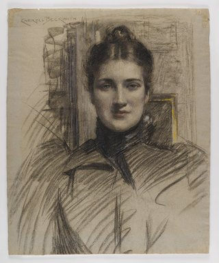 J. Carroll Beckwith (American, 1852-1917). Portrait of Minnie Clark, ca. 1890s. Charcoal and pastel on blue-fibered, medium-weight, moderately textured laid paper, Sheet: 22 3/8 x 18 1/4 in. (56.8 x 46.4 cm). Brooklyn Museum, Gift of J. Carroll Beckwith, 17.127