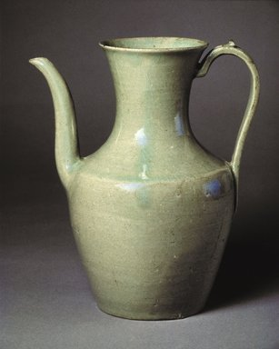 Ewer, late 11th-early 12th century. Porcelaneous stoneware with celadon glaze, Height: 8 7/8 in. (22.5 cm). Brooklyn Museum, Museum Collection Fund, 17.24. Creative Commons-BY