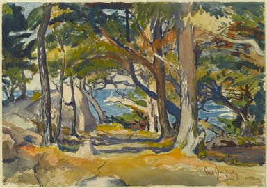 Paul Dougherty (American, 1877-1947). Cedar Grove by the Sea, ca. 1916. Watercolor and charcoal on cream, moderately thick, moderately textured wove paper, Sheet: 13 3/4 x 19 5/8 in. (34.9 x 49.8 cm). Brooklyn Museum, Museum Collection Fund and Frederick Loeser Fund, 17.46