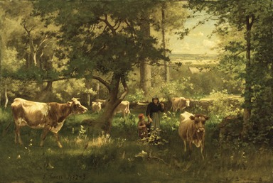 George Inness (American, 1825-1894). A Summer Morning, 1882-1883. Oil on canvas, 48 5/8 x 72 1/8 in. (123.5 x 183.2 cm). Brooklyn Museum, Gift of Sarah M. Gibb in memory of her husband, John Gibb, 17.52