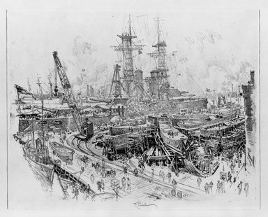 Joseph Pennell (American, 1860-1926). Building Submarine Chasers, 1917. Lithograph, composition: 15 3/4 x 20 1/2 in. (40 x 52.1 cm). Brooklyn Museum, Museum Collection Fund, 17.60