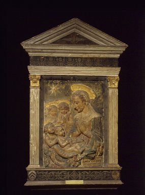 Antonio Rossellino (Italian, 1427-1479). Madonna, Christ, St.John and Angels, 15th century. Stucco - polychrome, 30 x 20 5/8 inches. Brooklyn Museum, Purchased with funds given by A. Augustus Healy and Robert B. Woodward Memorial Fund, 18.142. Creative Commons-BY