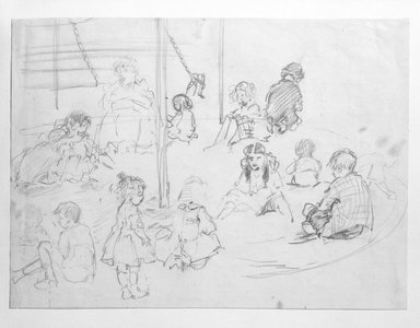 Jerome Myers (American, 1867-1940). Playground Sketch, n.d. Graphite and charcoal on paper, Sheet: 7 1/2 x 10 1/4 in. (19.1 x 26 cm). Brooklyn Museum, John B. Woodward Memorial Fund, 18.162. © Estate of Jerome Myers