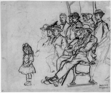 Jerome Myers (American, 1867-1940). Central Park Concert, n.d. Black crayon (probably Conté) on cream, medium-weight, slightly textured wove paper with watermarks., Sheet: 7 1/2 x 9 in. (19.1 x 22.9 cm). Brooklyn Museum, John B. Woodward Memorial Fund, 18.165.1. © Estate of Jerome Myers