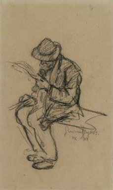 Jerome Myers (American, 1867-1940). Man Reading, 1907. Charcoal on paper, Sheet: 8 3/16 x 4 3/4 in. (20.8 x 12.1 cm). Brooklyn Museum, John B. Woodward Memorial Fund, 18.165.3. © Estate of Jerome Myers