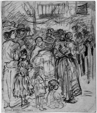 Jerome Myers (American, 1867-1940). Listening to the Band, 1909. Charcoal on paper, Sheet: 8 1/8 x 6 15/16 in. (20.6 x 17.6 cm). Brooklyn Museum, John B. Woodward Memorial Fund, 18.165.4. © Estate of Jerome Myers
