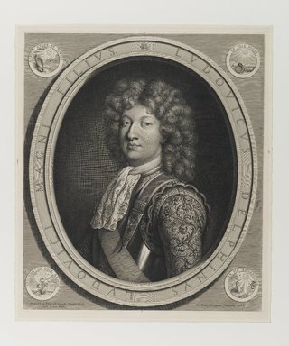 Pieter van Schuppen (Flemish, ca. 1623-1702). Louis Dauphin of France, 1684. Engraving, 17 x 14 3/4 in. (43.2 x 37.5 cm). Brooklyn Museum, Gift of Mrs. Joseph E. Brown in memory of the late Joseph Epes Brown, 18.173.5