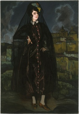 Ignacio Zuloaga y Zabaleta (Spanish, 1870-1945). Portrait of Anita Ramírez in Black, 1916. Oil on canvas, 75 1/8 x 51 1/2 in. (190.8 x 130.8 cm). Brooklyn Museum, Museum Collection Fund, 18.41