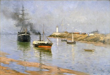 Frank Myers Boggs (American, 1855-1926). The Harbor at Honfleur, 1886. Oil on canvas, 34 9/16 x 50 1/2 in. (87.8 x 128.2 cm). Brooklyn Museum, Gift of Mrs. J. Lester Keep, 18.45
