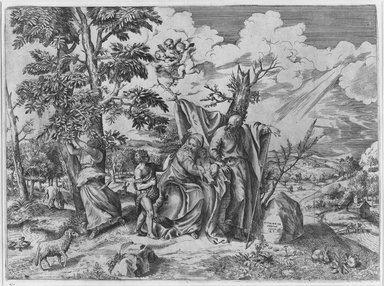 Giulio di Antonio Bonasone (Italian, ca. 1498-ca. 1580). Holy Family, n.d. Engraving and etching on laid paper, 12 15/16 x 17 1/2 in. (32.8 x 44.4 cm). Brooklyn Museum, Gift of Mrs. Joseph E. Brown in memory of the late Joseph Epes Brown, 18.85