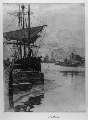 Charles Adams Platt (American, 1861-1933). Atlantic Docks, 1888. Etching on wove paper, Sheet: 20 1/2 x 15 3/8 in. (52.1 x 39.1 cm). Brooklyn Museum, Gift of Frank L. Babbott, 19.136
