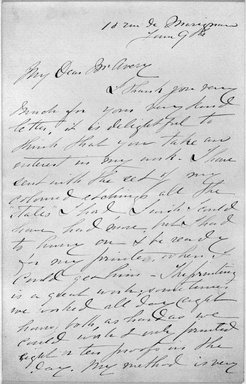 Mary Cassatt (American, 1844-1926). Letter to Mr. Avery, ca. 1891-ca. 1906. Pen and ink handwritten letter in manuscript on wove paper, Sheet: 6 7/8 x 4 7/16 in. (17.5 x 11.3 cm). Brooklyn Museum, Gift of the Estate of Mary Benson, 19.174