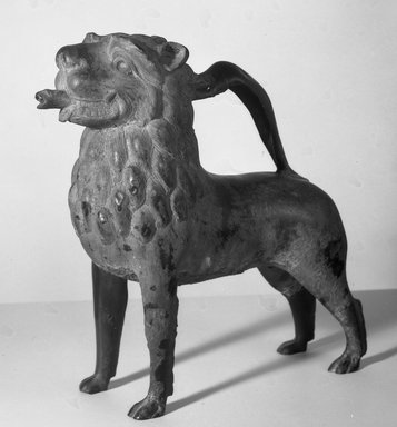 Aquamanile, 1220-30. Bronze, 13 3/4 x 5 1/4 x 13 1/4 in. (35 x 13.3 x 33.7 cm). Brooklyn Museum, Bequest of William H. Herriman, 19.57. Creative Commons-BY