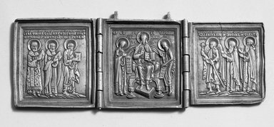 Triptych, 17th-18th Century. Brass, 6 7/8 x 2 7/16 in. (17.5 x 6.3 cm) open. Brooklyn Museum, Bequest of William H. Herriman, 19.67. Creative Commons-BY