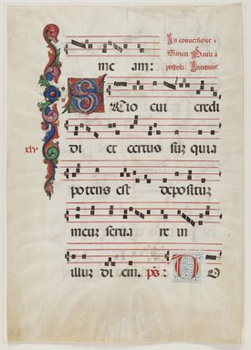 Antiphonarium (Sheet from Choir Book), first half of 15th century. Colored inks on vellum, 22 3/8 x 15 7/8in. (56.8 x 40.3cm). Brooklyn Museum, Bequest of Mary Benson, 19.79.1a-b