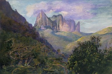 John La Farge (American, 1835-1910). Diadem Mountain at Sunset, Tahiti, 1891. Transparent and opaque watercolor, resin, on paper, 16 3/4 x 22 1/4 in. (42.5 x 56.5 cm). Brooklyn Museum, Gift of Frank L. Babbott, 19.80