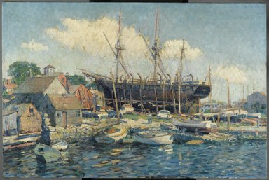 Clifford Warren Ashley (American, 1881-1947). A Whaleship on the Marine Railway at Fairhaven, 1916. Oil on canvas, 36 1/4 x 54 5/16 in.  (92.0 x 138.0 cm). Brooklyn Museum, Gift of Robert C. Murphy, 19.91
