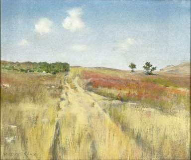 William Merritt Chase (American, 1849-1916). Shinnecock Hills, ca. 1895. Pastel on commercially pre-primed canvas, with hand-applied gray ground, attached to a wooden strectcher, 20 x 24 in. (50.8 x 61 cm). Brooklyn Museum, Gift of William A. Putnam, 19.96