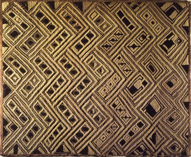 Kuba (Shoowa subgroup). Raffia Cloth Panel Marked D43, 20th century. Raffia, 25 9/16 x 20 1/2 in. (65.0 x 52.0 cm). Brooklyn Museum, Gift of The Roebling Society, 1989.11.1. Creative Commons-BY