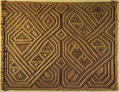 Kuba (Shoowa subgroup). Raffia Cloth Panel Marked D21, 20th century. Raffia, 17 3/4 x 23 5/8 in. (45.1 x 60 cm). Brooklyn Museum, Gift of The Roebling Society, 1989.11.4. Creative Commons-BY