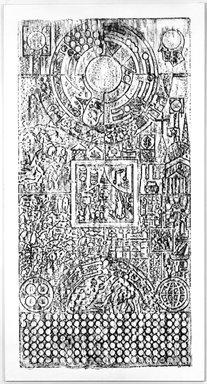 Matt Mullican (American, born 1951). Untitled, 1984. Oilstick on paper on canvas, 104 x 56 in. Brooklyn Museum, John B. Woodward Memorial Fund, 1989.116. © Matt Mullican