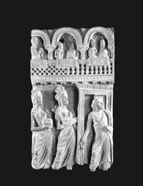 Buddhist Narrative Relief, 2nd-4th century C.E. Grey micaceous schist, 13 1/4 x 7 15/16 x 2 1/2 in. Brooklyn Museum, Gift of Dr. Samuel Eilenberg, 1989.146.2. Creative Commons-BY