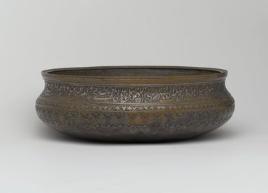 Bowl, 1697. Tinned copper inlaid with black composites, Height: 5 in. (12.7 cm). Brooklyn Museum, Gift of Mrs. Charles K. Wilkinson in memory of her husband, 1989.149.5. Creative Commons-BY