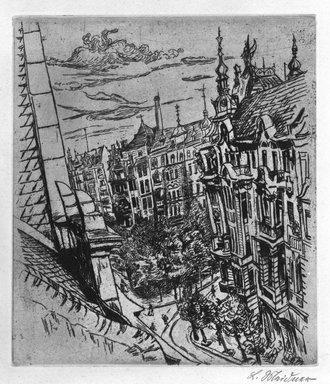 Ludwig Meidner (German, 1884-1966). Street in Berlin - Freidenau, ca. 1920. Etching on wove paper, 15 3/4 x 11 7/8in. (40 x 30.2cm). Brooklyn Museum, Robert A. Levinson Fund, 1989.166. © Ludwig Meidner-Archive, Jüdisches Museum der Stadt Frankfurt am Main