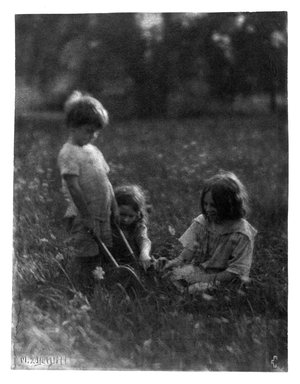 Marguerite E. DeWitt (American, early 20th century). Three Children in the Grass, ca. 1915. Platinum photograph, 9 9/16 x 7 1/2 in. (24.3 x 19.1 cm). Brooklyn Museum, Purchased with funds given in memory of Barbara Sinclair LaSalle, Museum Registrar 1963-1989, 1989.167.2