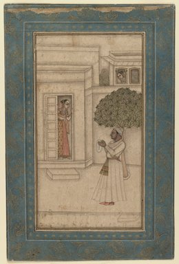 Mughal. Prince and His Beloved in a Garden, ca. 1760. Ink and opaque watercolor on paper, sheet: 12 7/8 x 8 1/2 in.  (32.7 x 21.6 cm). Brooklyn Museum, Gift of Dr. Bertram H. Schaffner, 1989.179.5