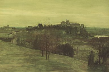 Walter T. Crane (British, 1845-1915). The Aventine from the Palatine, February 19, 1873. Opaque watercolor on wove paper, 11 1/2 x 17 1/4 in. (29.2 x 43.8 cm). Brooklyn Museum, Gift of Karen B. Cohen, 1989.25.2