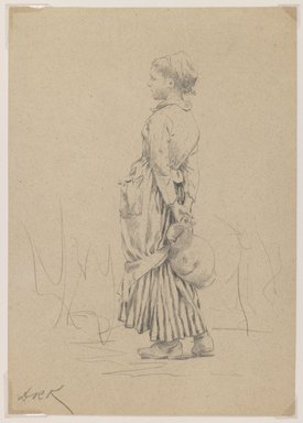 "Daniel Ridgway Knight (American, 1839-1924). Peasant with Water Jug: Study for ""The Well,"" ca. 1880. Graphite on brown colored, medium weight, slightly textured wove paper, Sheet: 10 1/8 x 7 1/8 in. (25.7 x 18.1 cm). Brooklyn Museum, Purchased with funds given by Mr. and Mrs. Leonard L. Milberg, 1989.29.2"