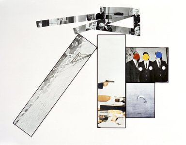 John Baldessari (American, born 1931). The Fallen Easel, 1987. Lithograph and Silkscreen on ragcote paper and 5 pieces of photo-sensitized aluminum, Overall: 74 x 95 in. (188 x 241.3 cm). Brooklyn Museum, Gift of IBM Gallery of Science and Art, 1989.42a-i. © John Baldessari