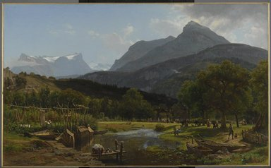 Worthington Whittredge (American, 1820-1910). View near Brunnen on Lake Lucerne, 1857. Oil on canvas, 32 13/16 x 53 9/16 in. (83.3 x 136 cm). Brooklyn Museum, Gift of Mary Stewart Bierstadt, by exchange, 1989.50