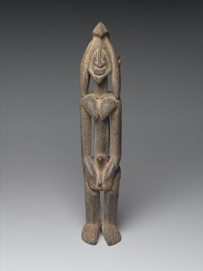 Dogon. Female Figure, probably early 17th century. Diospyros wood, organic material, 15 3/4 x 2 7/8 x 3 in. (40.0 x 7.3 x 7.8 cm). Brooklyn Museum, The Adolph and Esther D. Gottlieb Collection, 1989.51.45. Creative Commons-BY